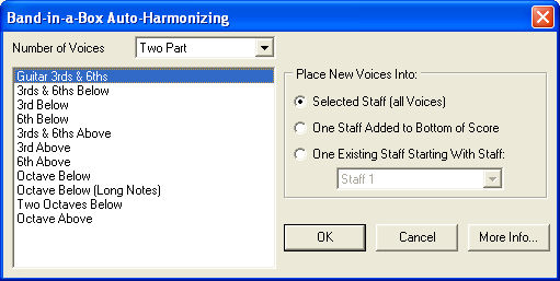 Band-in-a-Box Auto-Harmonizing Plug-in