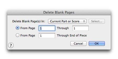 Delete Blank Pages dialog box