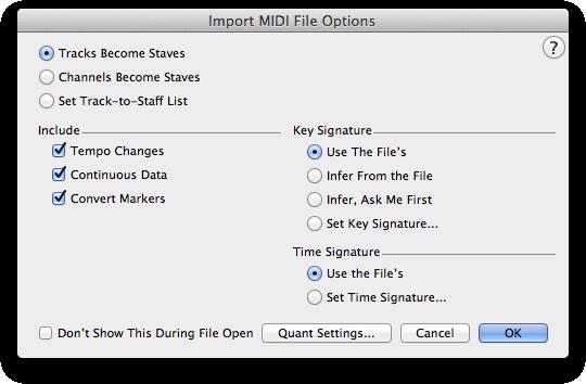 Import MIDI File Options dialog box