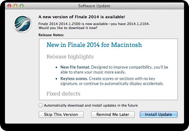 Software Update dialog box