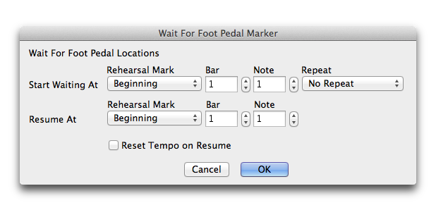 Wait For Foot Pedal dialog box