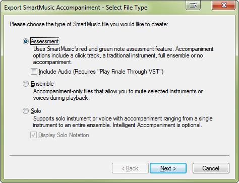 Export SmartMusic Accompaniment - Select File Type dialog box