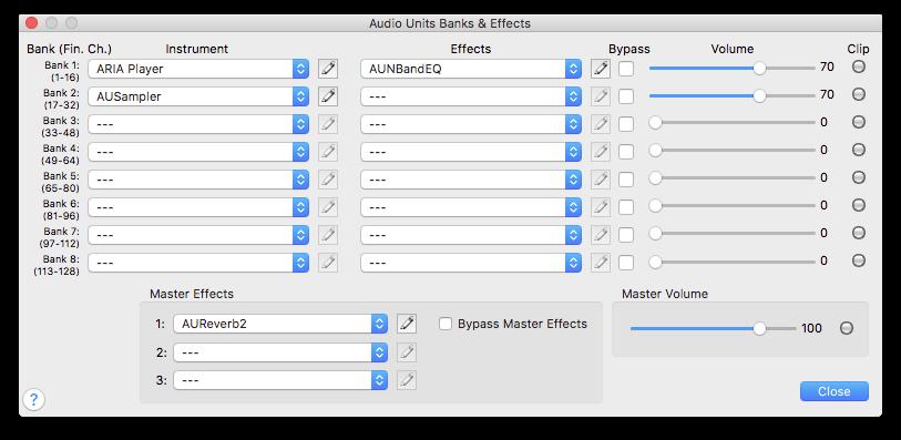 Audio Units Banks & Effects dialog box
