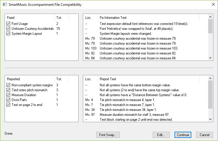 SmartMusic Accompaniment File Compatibility dialog box